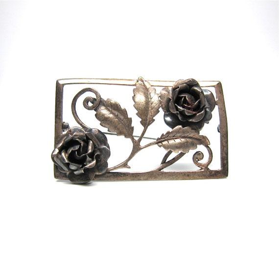 Sterling Silver Rose Brooch Large Pin Flower Vintage