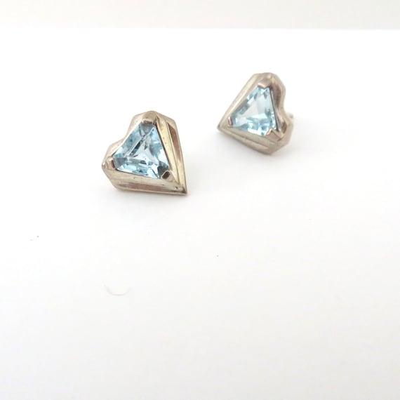 Vintage Heart Earrings 1980s Blue Gem Hearts Geometric