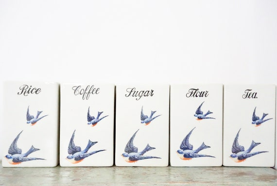 Vintage Hull Bluebird Canister Set and Spice Jars Ironstone 20s Rare Cereal Set 12 Container Set White Ceramic Blue Swallow AE Hull Pottery
