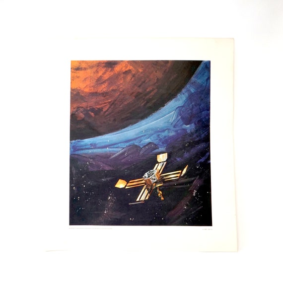 Vintage Oleg Stavrowsky Print Mariner 1965 3M Co. Exploration of Mars Blue Orange Abstract Painterly Background 1960s Space Age Art Sci Fi