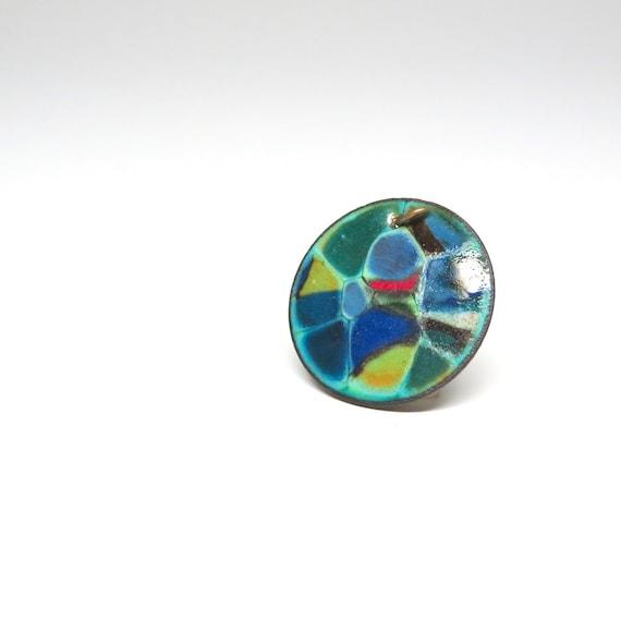 Vintage Pendant Colorful Enameled Round Copper Disc