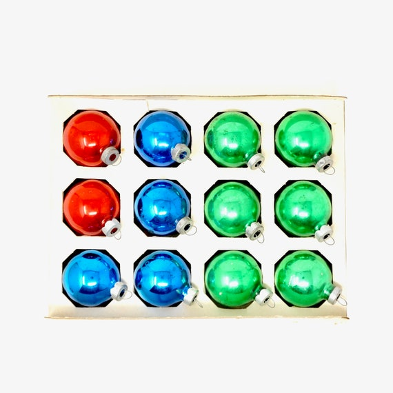Vintage Ornaments Blue Red Green Balls Glass 1960s Made In USA Silvered Small Ball Ornaments Dozen Fantasia Brand Box 1950s Packaging Balls