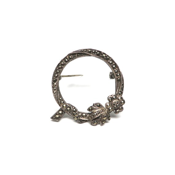 Vintage Wreath Brooch Marcasite FAS 1980s Sterling Holiday Pin