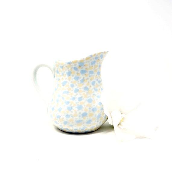 Vintage Creamer Speckled Pale Blue-Grey Yellow White Porcelain Cream Pitcher Small Porcelaines Ulysse Paris France Rare Pattern Pastel Spots