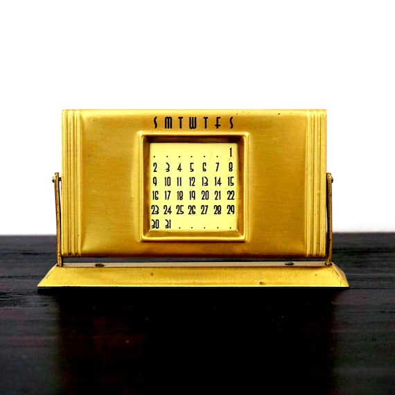 Vintage Desk Calendar Deco Style Small Slide Over 50 Year Calendar 1990-2040 Reusable Yearly Calendar on Stand Gold Toned Perpetual Calendar