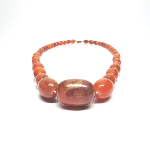 Vintage Graduated Bead Necklace 1960s Rust Brown Gold Lustre