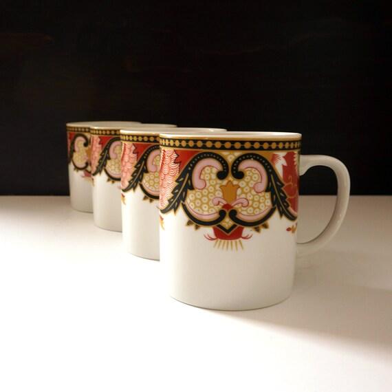 Vintage Georges Briard Mugs Set of 4 Imperial Imari Inspired by Antique Oriental Porcelain Ornate Navy Burgundy Pink Green Design White Mug