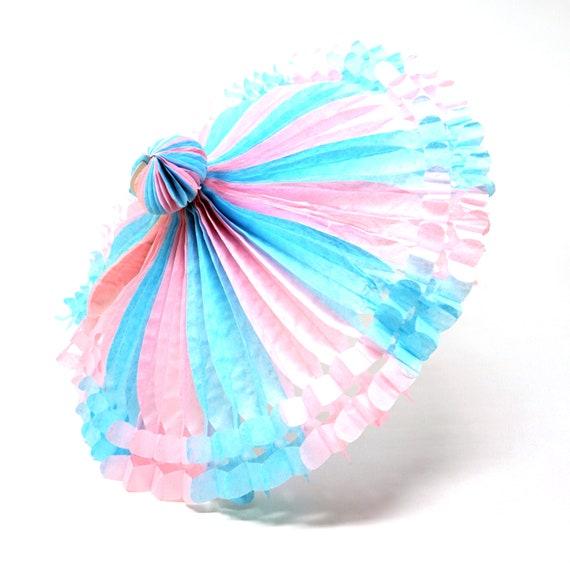 Vintage Shower Decor Paper Honeycomb Umbrella Baby Shower Wedding 1980s Pink Blue Parasol w/ Stick Its a Girl Its A Boy Retro Bridal Shower