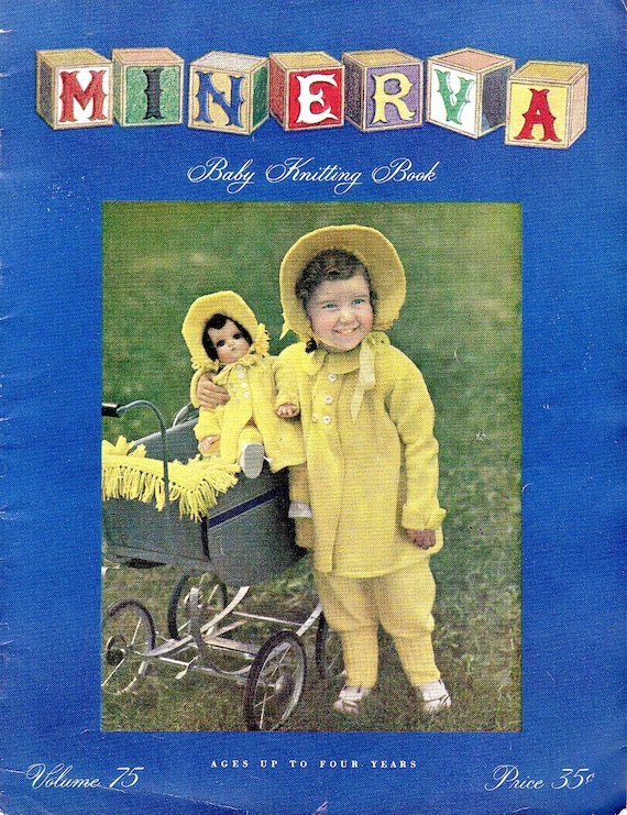 1940s Patterns Baby Toddler Child Knitting Book Minerva Sweaters Knitwear Patterns Clothing Infants to 4 Year Old How To Retro Clothes Kids