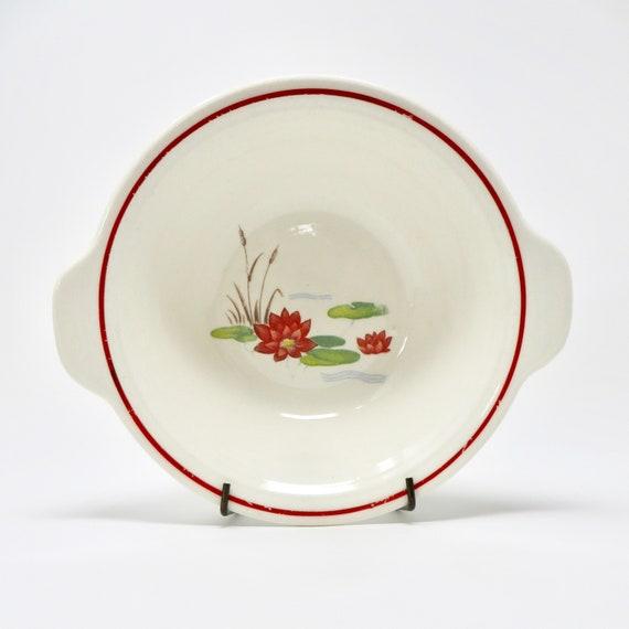 Vintage Water Lilies Bowl Red Rim Art Deco Salem Pattern 1930s Soup Bowl with Handles