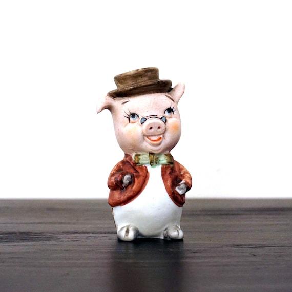 Vintage Pig Figurine Lefton Ceramic Pepper Shaker Pig in Hat Bow Tie Glasses 1950s Anthropomorphic Bisque Porcelain Piggy Shaker Single Only