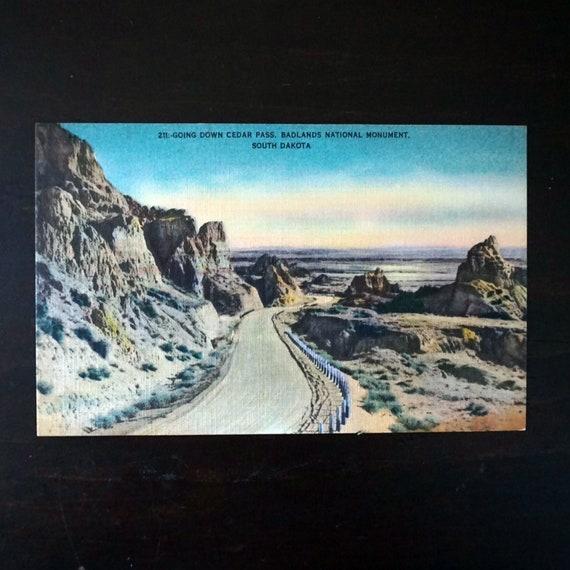 Vintage Postcard South Dakota Cedar Pass SD Badlands National Monument Photo Black Hills Image Unused Post Card Americana Tourist Attraction