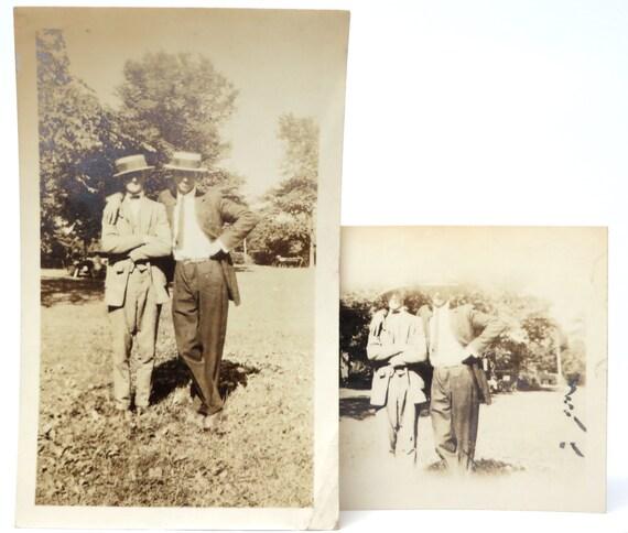 Vintage Photograph Dapper Gentlemen Friends Porkpie Hats