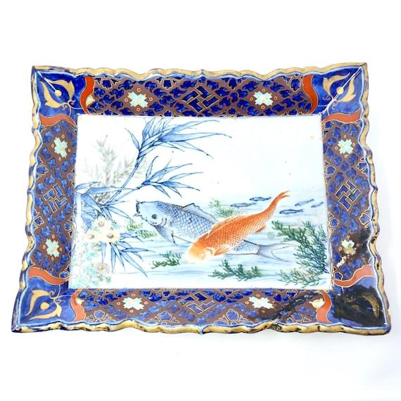 Antique Japanese Platter Koi Fish Imari 19th Century Pottery Rectangular Dish Hand Painted Glazed Deep Blue Gold Meiji Old Kyoto Porcelain