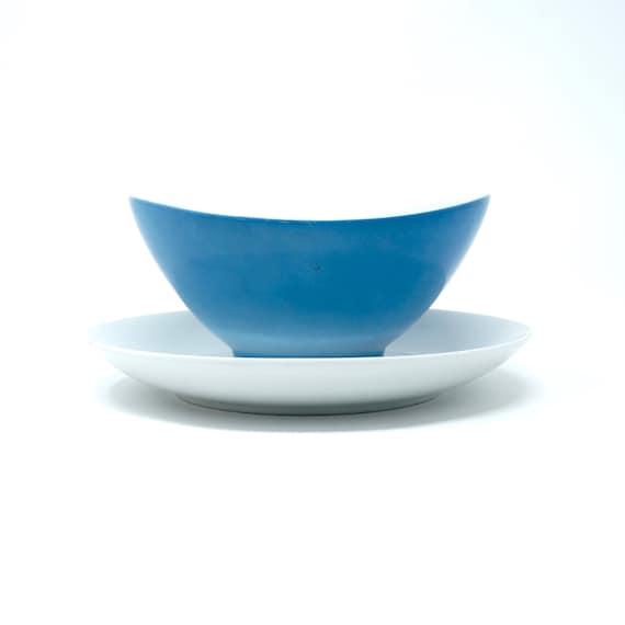 Vintage Gravy Bowl Turquoise White Dish Attached Rare 60s Mikasa Elite Dinnerware Mid Century Serving Piece Blue Sauce Bowl Attached Saucer