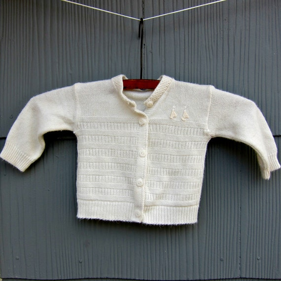 Vintage Baby Sweater Hand Knit White Sailboat Nautical Handmade Baby Knitwear Retro