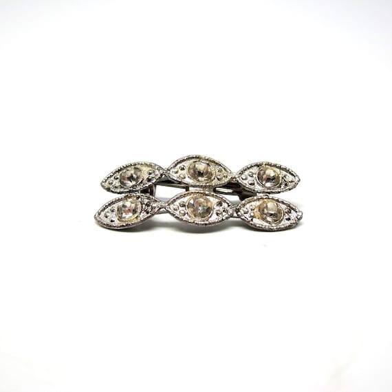 Vintage Brooch Art Deco Silver Toned Faux Diamond Eyes