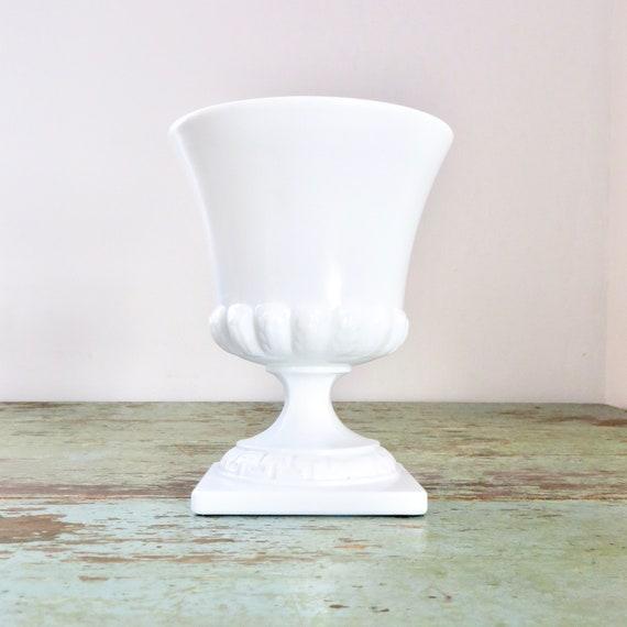 Vintage White UrnMilk Glass 1960s Planter Wedding Floral Display Footed Vase