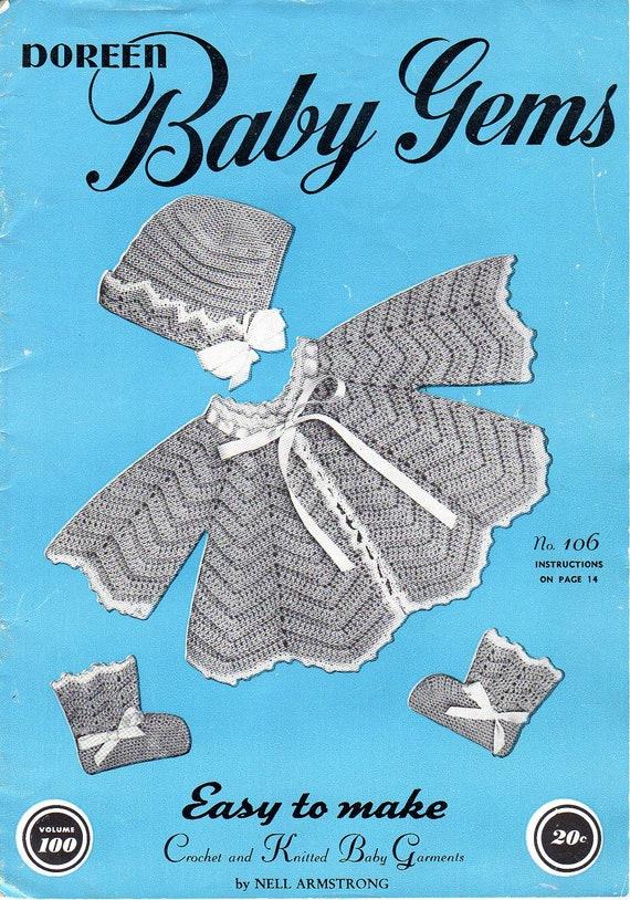 Vintage Knitting Crochet Patterns Infant Baby Gems 1950s
