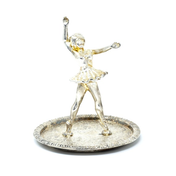 Vintage Ring Holder Ballerina EP Silver Alloy Silver 1960s Ring Dish Electroplated Etched Ballet Dancing Girl Engagement Gift Wedding