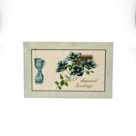 Antique Postcard Blue Victorian Post Card Greetings
