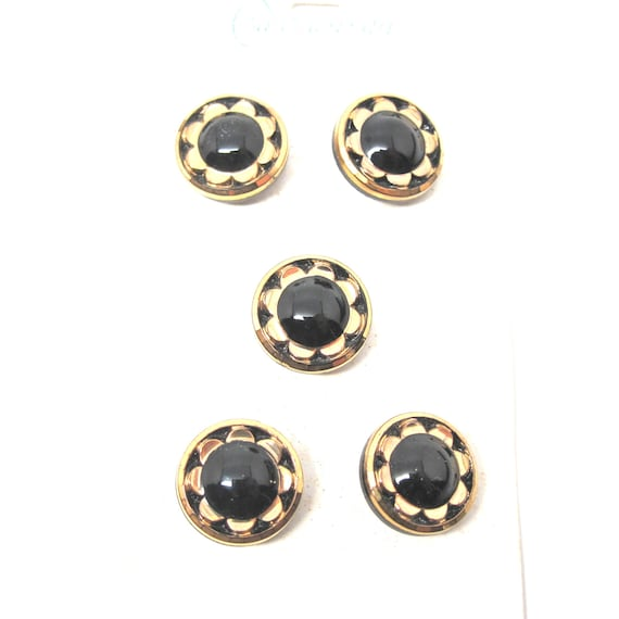 Vintage Buttons Glass Black Gold Flower Buttons by Schwanda
