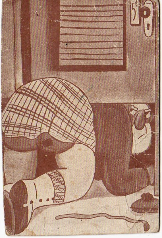 Vinate 1950s Cartoon Golf Black White Illustration Card