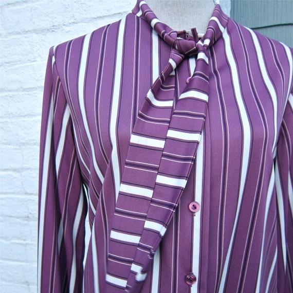 Vintage Blouse Tie Neck Purple Stripes Secretary Blouse