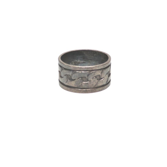 Vintage Silver Ring Wide Band Chain Link Etched Design