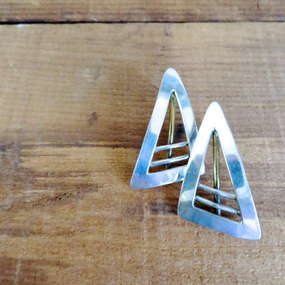 Abstract Earrings Sterling Silver Mexico Brass Triangles