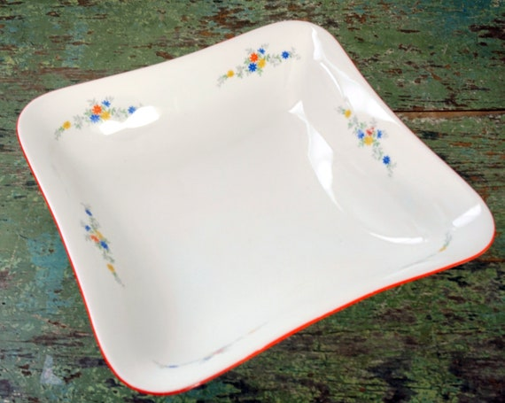 Vintage White Bowl Red Rim Tiny Floral Square Serving Bowl Ceramic 40s Dinnerware Small Blue Yellow Flowers In Corner Marked AM Blue Bell