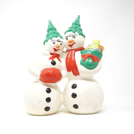 Vintage Angry Snowmen Ceramic Figurine Christmas Tree Hats Snow Man Snow Woman Couple Hand Painted Snow Man Pair Christmas Pottery Figurine