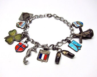 Vintage Charm Bracelet Europe Travel Charms Mid Century France Collectible Jewelry Seahorse Charm Windmill Dutch Shoes Charm Mortarboard