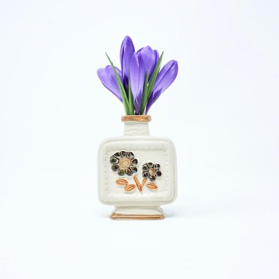 Vintage Bud Vase Stoneware Brown Daisies Square Vase Mid Century Pottery Single Stem Vase Earthtones Pottery Tiny Vase 1960s Earthenware