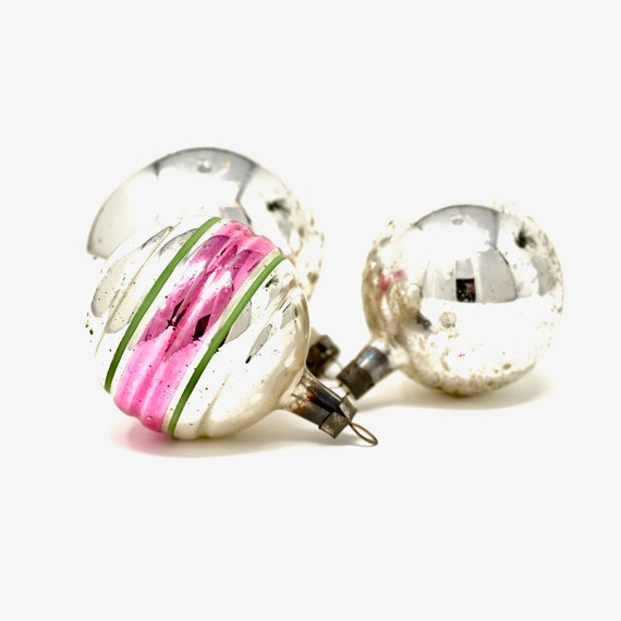 Vintage Ornaments Silver Christmas Balls Poland Set of 3 Silvered Mercury Glass Look and Ribbed Silver Ball Pink Green Striped Glass Bulb