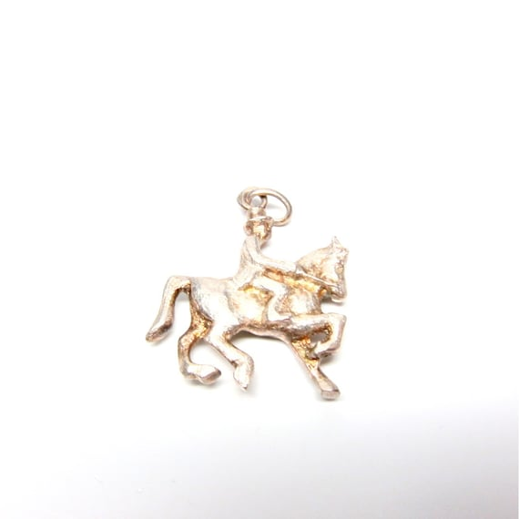 Vintage Cowboy Charm Silver Horse with Rider Charm Bracelet