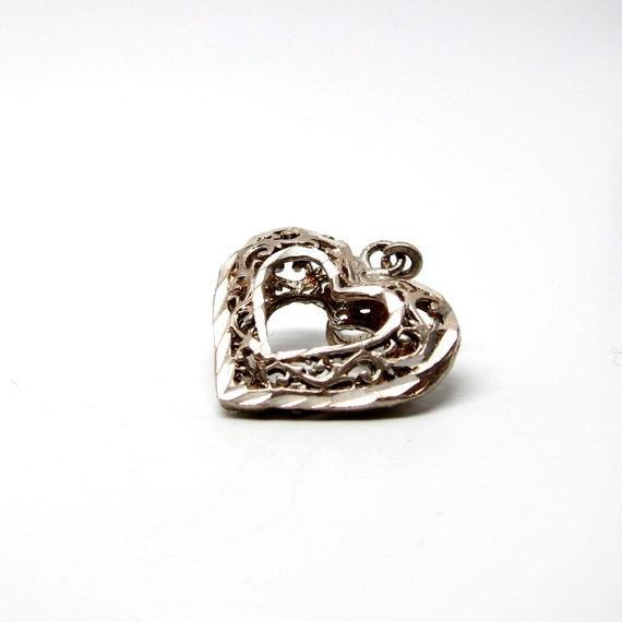 Vintage Heart Pendant Necklace Silver Open Heart Charm 60s