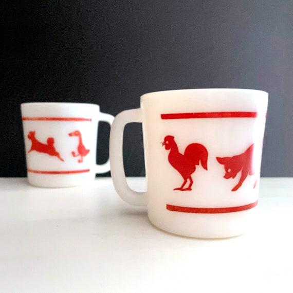 Vintage Mugs Red White Hazel Atlas Child's Cup Red Farm Animals on White Milk Glass Handled Cup 1950s KItsch Kitchen Mug Pair Glass