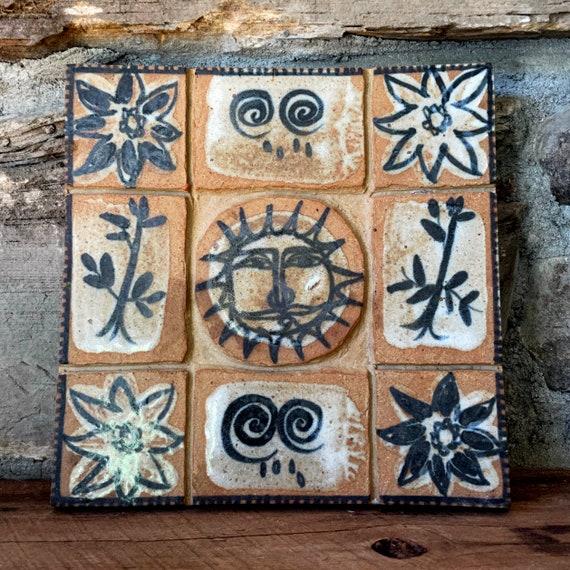 Vintage Pottery Tile Sun Motif Handmade Trivet Large Earthtones Brown Navy Hand Painted 1970s Ceramic Piece Heavy OOAK Stamped Acorn