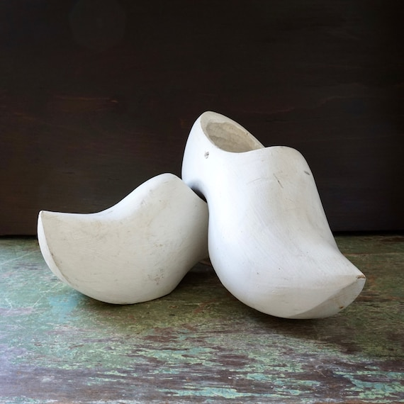 Vintage Wooden Shoes White Wood Clog Pair Carved Dutch Shoes Painted White Rustic European Farmhouse Décor Old World Netherlands Holland