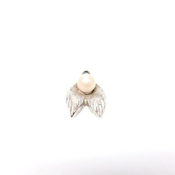Vintage Silver Charm Little Wing Faux Pearl Charm Wings
