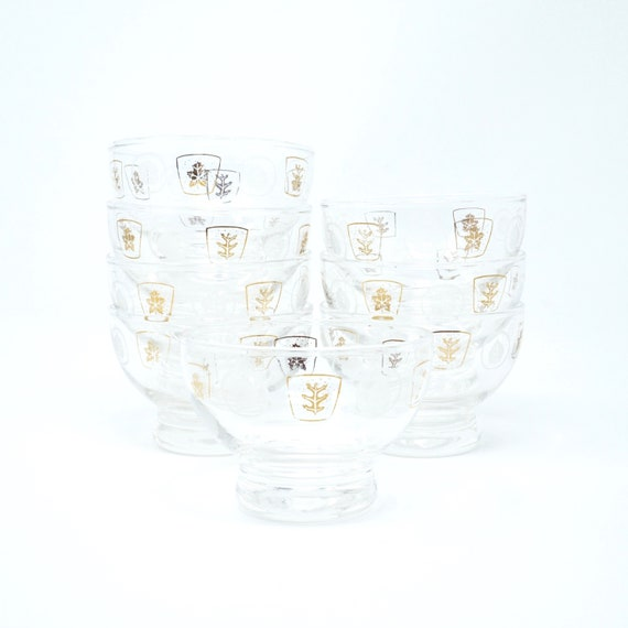 Vintage Aperitif Glasses Gold Leaf White Leaves in Squares 1960s Georges Briard Punch Glass Set of 8 Small Solid Bottom Barware Mid Century