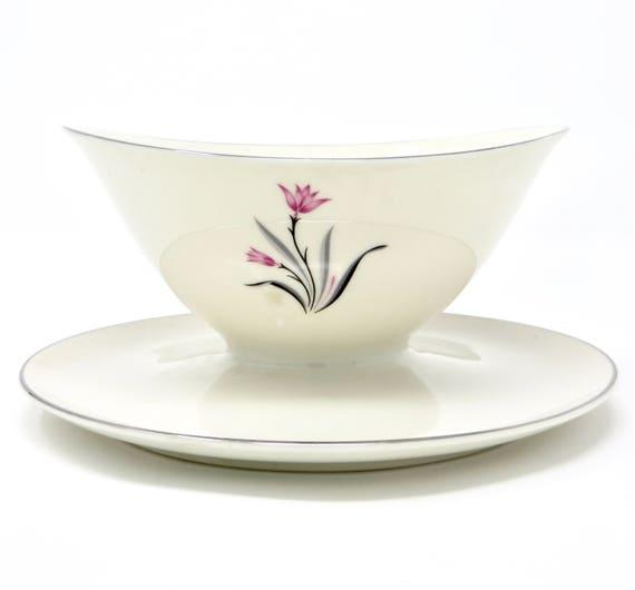 Vintage Gravy Boat Alpine Pattern Syracuse China Ivory Pink Black Floral Silver Rim Mid Century Serving Piece