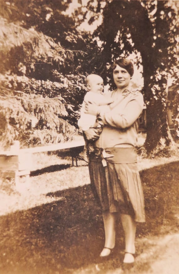 Vintage Photograph 1920s Mother and Baby Backyard Photo
