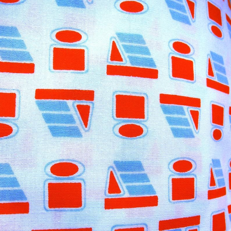 Vintage Half Apron Mod Geometric Print Orange Blue White