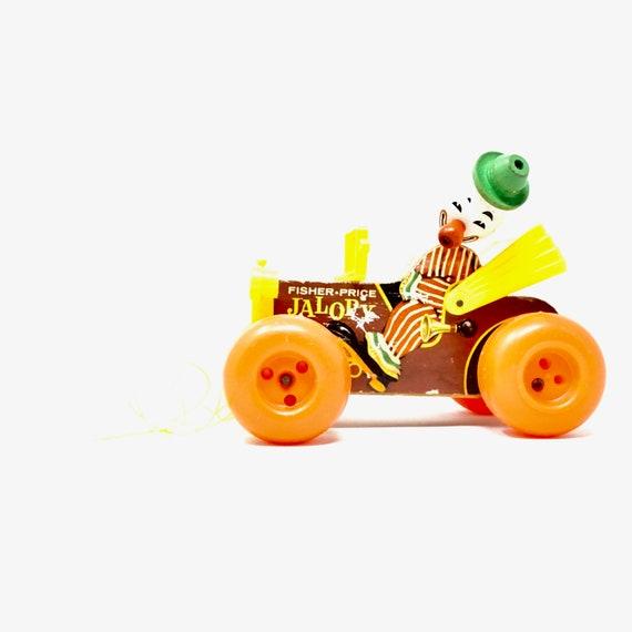 Vintage Clown Car Jalopy Fisher Price Pull Toy 1970s Wood Vehicle Plastic Orange Wheels Noisemaker Car Bobble Head Clown Classic Toy 70s Kid