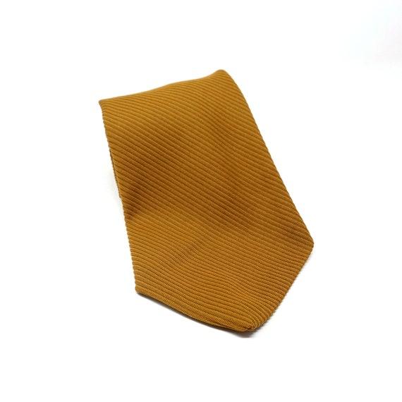 Vintage Tan Tie Very Wide Necktie Diagonal Rib Polyester Solid Color Tie Golden Ochre Brown 1970s Men's Accessory Alfie Limited Trevira Star