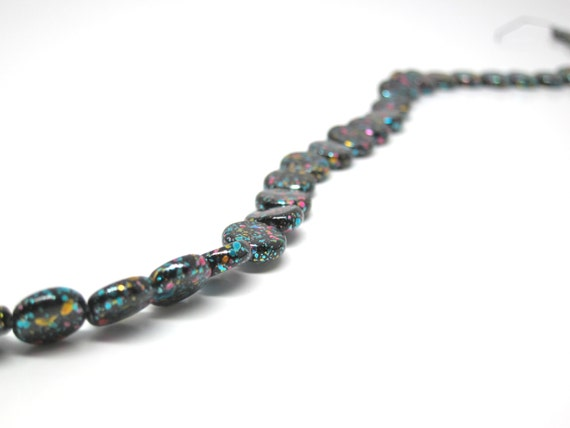 Vintage Glass Beads Black 80s Splatter Paint Pink Aqua Bead 10mm Bead Strand 42 Qty. Opaque Black Glass Coin Shaped