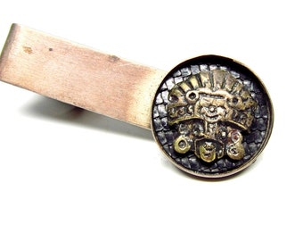 Vintage Tie Clip Incan Sun God Sterling Mens Accessory