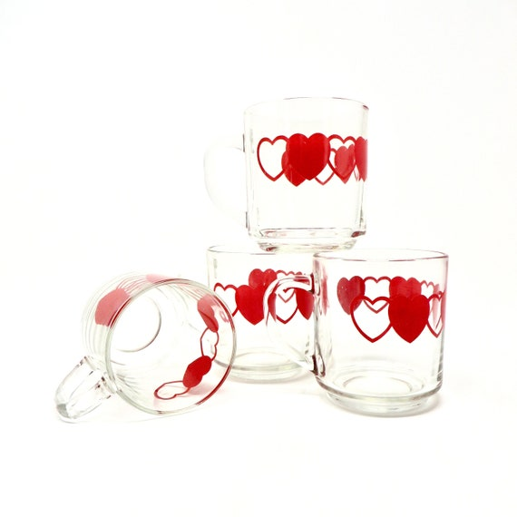 Vintage Heart Mugs Set of Four Red Hearts and Heart Outline Printed on Clear Glass Handled Cups